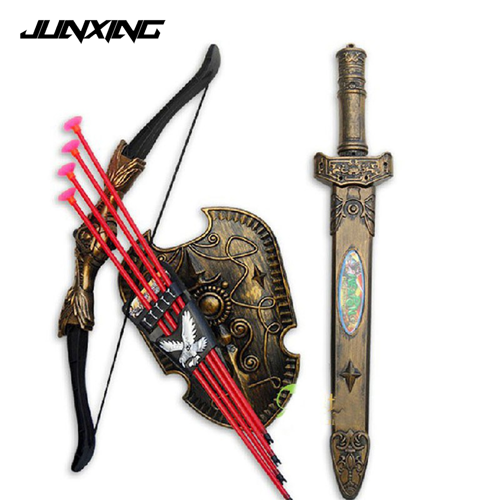 New Gift for Children Toys Swords Shiled Bow and Arrow Sword Shield Sucker Simulation Archery Plastic SwordsToy Set swords of glass