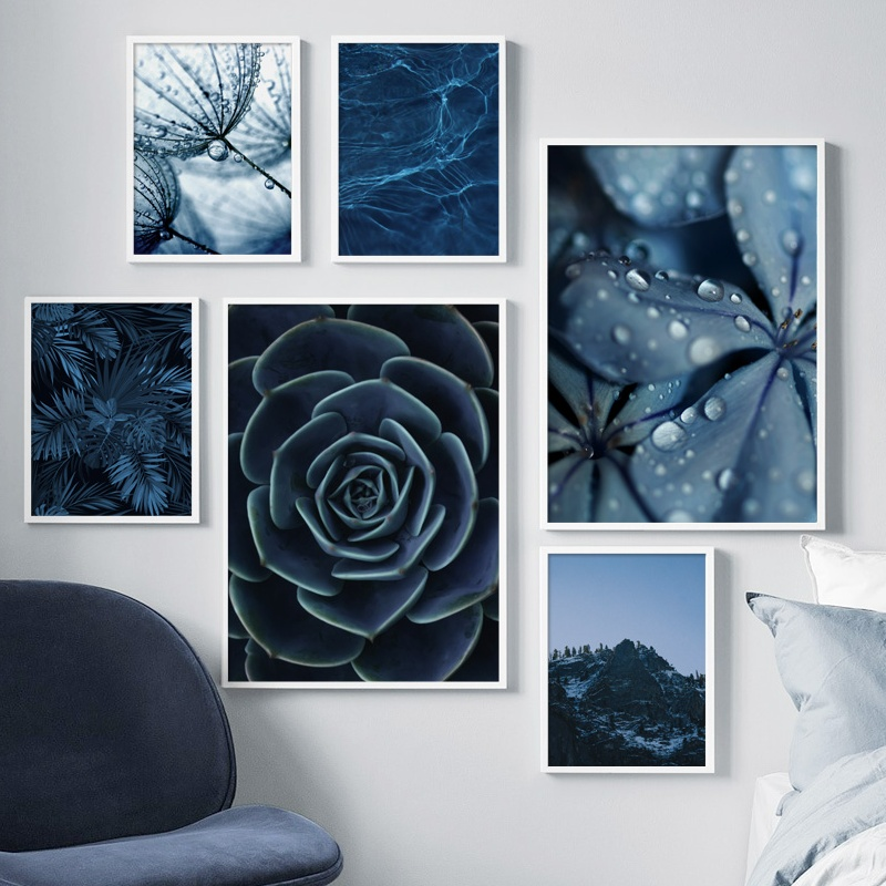 Home Decor Picture HD Nordic Modern Blue Dandelion Art Print Succulent Monsteras Leaves Modular Poster Living Room Wall Painting