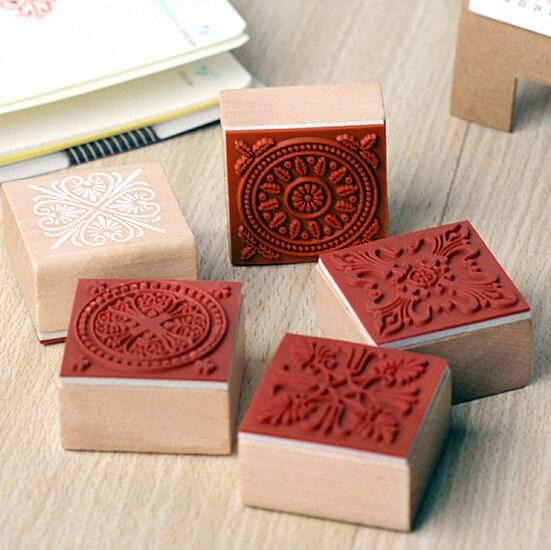 6 styl DIY Roztomilý Kawaii Kreslený Vintage Květinový vzor květin Dekorace Scrapbooking Dárková krabička Dřevěná pryžová známka Vysoká kvalita
