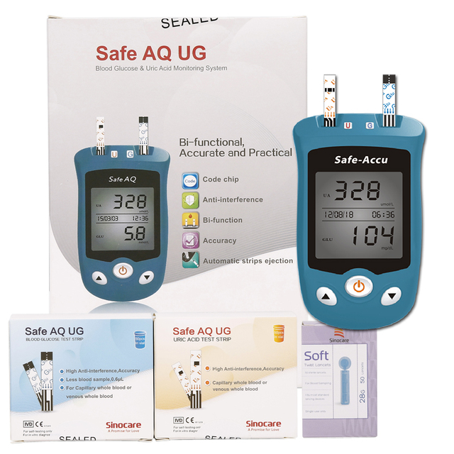 Uric acid monitoring and blood glucose meter with Test Strips 2in1 Kit  Monitoring System Diabetes Gout