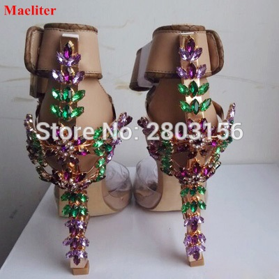 PVC Sexy Crystal Embellished Sandals Padlock Spiked High Heels Pumps Ankle Strap Sandals Colorful Rhinestone Party Shoes 2017 new arrival abnormal jeweled heels rhinestone crystal embellished high heel sandals ankle strap lock summer party shoes