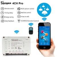 Sonoff 4CH Pro Smart Home RF Wifi Light Switch 4 Gang 3 Working Modes Inching Interlock Self-locking Wifi Switch Work With Alexa Smart Remote Control