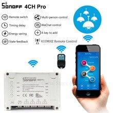 Sonoff 4ch pro casa inteligente rf wifi interruptor de luz 4 gang 3 modos de trabalho que avançam o trabalho de bloqueio automático do interruptor de wi fi com alexa