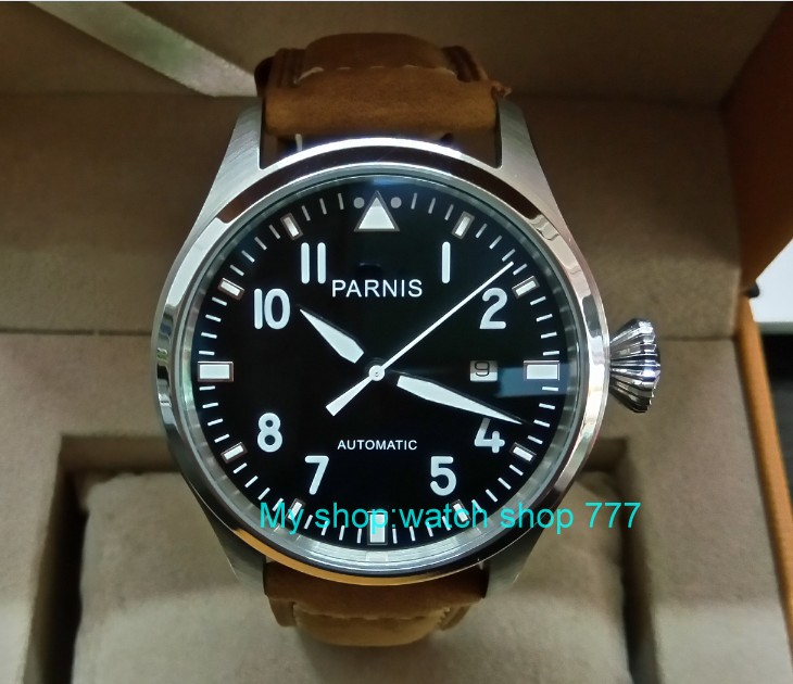 47mm big pilot PARNIS Black dial Automatic Self-Wind movement Auto Date men watches luminous Mechanical watches df128A tevise fashion men automatic mechanical watches self wind black silver stainless steel luminous auto date day wristwatches 8377