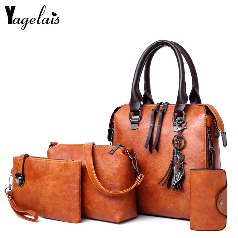 Las mujeres bolsa compuesta de lujo bolso de cuero y bolsos marcas famosas de Sac-Manejar mujer hombro bolsa 4 piezas damas conjunto