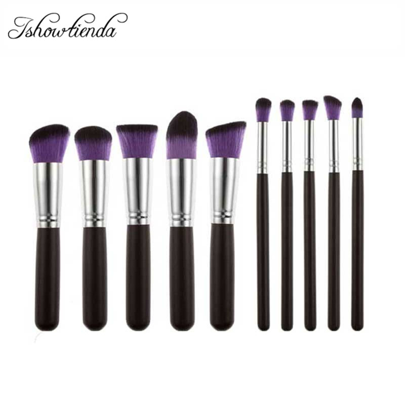 10 pcs Maquillage pinceaux Synthétique Maquillage Kabuki Brush Set Cosmétiques Fondation Mélange Blush Make up Outils Multicolore Freeshipping