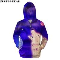 Moon&Wolf 3D Hoodies Men Print Zipper Sweatshirt Fashion Pullover Tracksuit Hot Sale Zip Hoody Galaxy Coat Drop Ship ZOOTOP BEAR