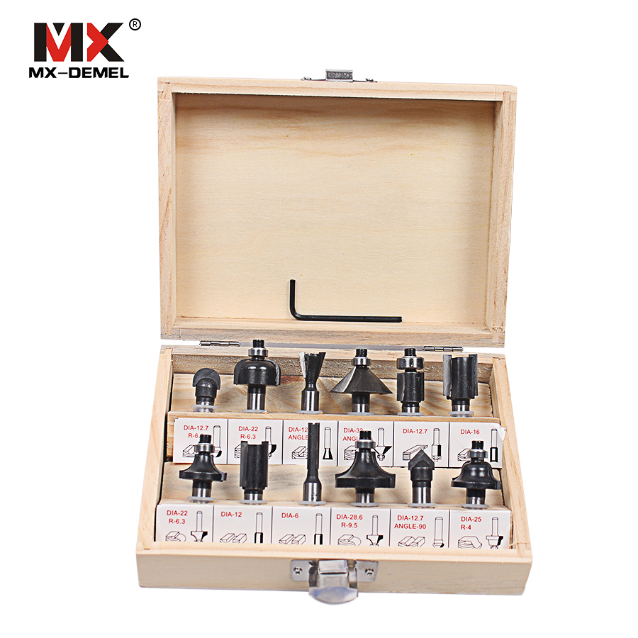 MX-DEMEL 12Pcs Router Bit Set 8 MM Shank Tungsten Carbide Rotary Tool With Wood Case Box For Woodworking Cutting Tools Cutter [15 pcs router bit set] woodworking milling cutters for wood router woodworking machine free shipping yg8 carbide wooden box