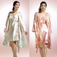 New Arrival Fashion Female 100% Silk Sleepwear Twinset Women Sexy Nightgown 100% Mulberry Silk Flower Print Robe Nightdress Sets