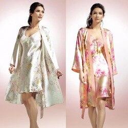 Nieuwe Aankomst Mode Vrouwelijke 100% Zijde Nachtkleding Twinset Vrouwen Sexy Nachtjapon 100% Moerbei Zijde Bloemenprint Robe Nachthemd Sets