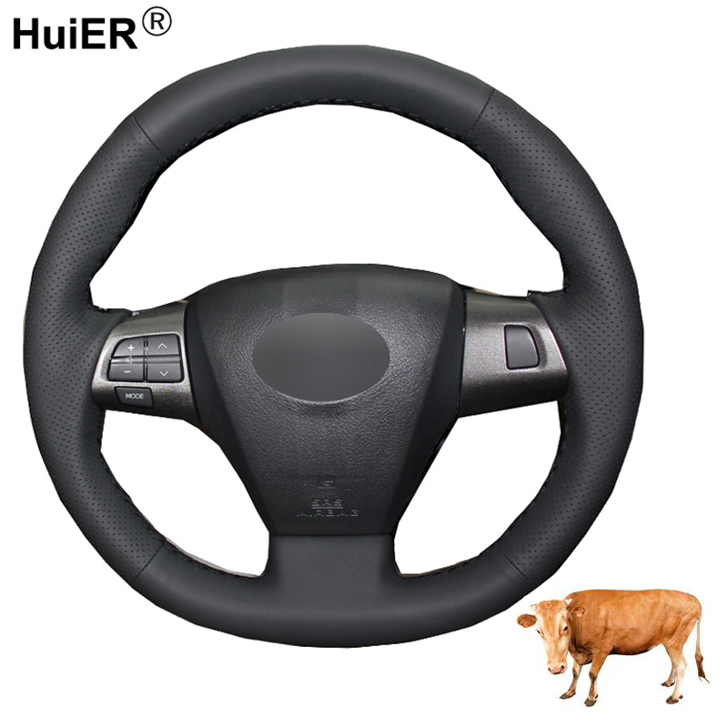Hand Sewing Car Steering Wheel Cover Top Layer Cow Leather Volant For Toyota Corolla 2011 2012 2013 RAV4 2011 2012 Funda Volante(China)