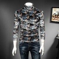 Feather Print Turtleneck Velvet T Shirt Long Sleeve Autumn Winter Camiseta Hombre Colorful Print Tee Shirt Men Club Party Outfit
