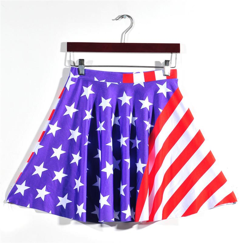 New 2017 Summer Skirts Pleated Blue Skirts Blue American Flag Skirts Digital Printed Girls Above Knee