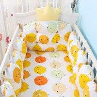 5 шт. хлопок детская кроватка Постельное белье новорожденных мультфильм кроватки Постельное белье включает детская кровать бамперы + чехол