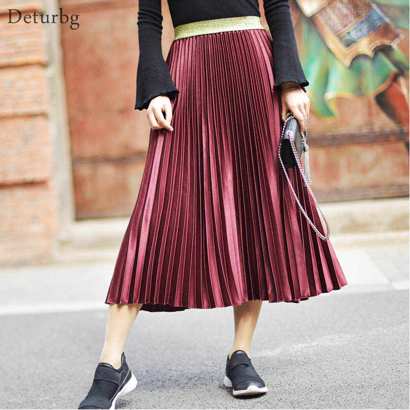 5e77baf79808e9 Women's Fashion Solid Color Midi Skirt Ladies Elastic High Waist Velour Chic  Pleated Skirts Saias Faldas