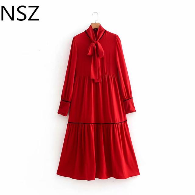 51628512c1d Women Red Pleated Maxi Dress Long Sleeve Bow Tied Neck Pleated Midi Dress  Loose Party Dress Femme Chic Vestidos Spring Autumn