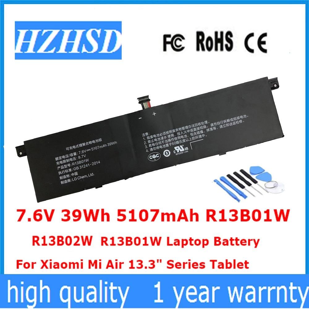 7.6V 39Wh 5107mAh R13B01W R13B02W New R13B01W R13B02W Laptop Battery For Xiaomi Mi Air 13.3