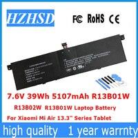 7.6V 39Wh 5107mAh R13B01W R13B02W new R13B01W R13B02W Laptop Battery For Xiaomi Mi Air 13.3 Series Tablet