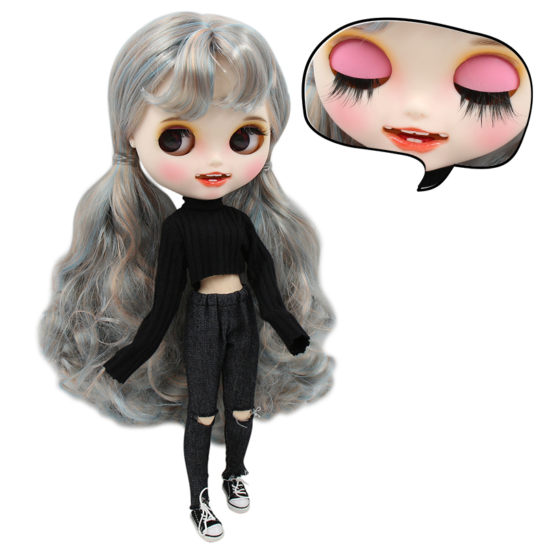 1 6 bjd factory blyth doll blue mix golden hair new matte face with teeth white