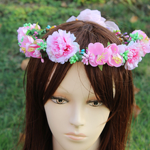 Pink color big Beautiful Flower Girl Floral Crown Bridesmaid Bride Spring Wedding Vine Vacation Hair Accessory festival gift