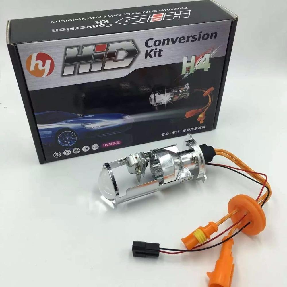 Galactica Sea 2pcs 35W Mini Bi-xenon Projector Lens Headlight Bulb H4 Bi xenon Bulb for Car Motorcycle spotlight Easy Install 2 5 mini bi xenon projector lens can use with d2s d2h hid xenon bulb for h4 car headlamp easy install