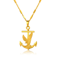 Wholesale Boho Owl Anchor Pendant Necklace Men Women Dubai Fashion 18K Gold Plated Jewelry Best Friends
