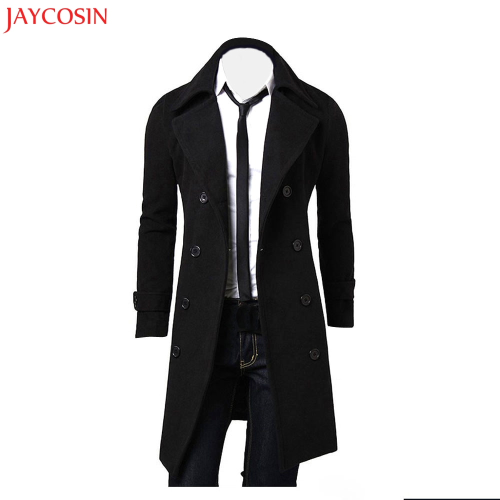 JAYCOSIN 1PC Winter Coat Men Slim Stylish   Trench   Long Sleeve Turndown Cotton Blend Coat Double Breasted Long Jacket Parka z1031