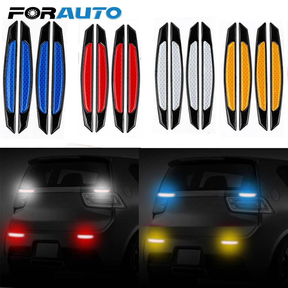 4Pcs Car Stickers Reflective Strips With Anti-Collision Warning