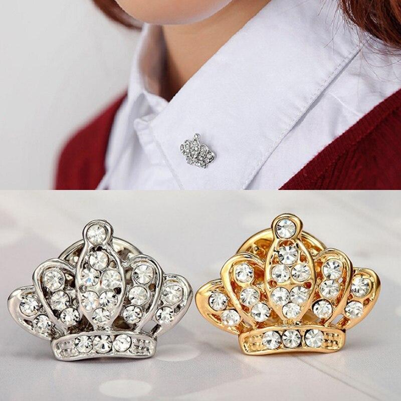 LNRRABC Лидер продаж 1 шт. унисекс для женщин мужчин Корона Брошь Стразы кристалл нагрудник воротник булавки Jewelry подарки 2 цвета
