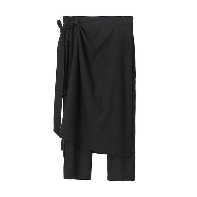 Owen Seak Men Casual Cross Pants Cotton Gothic Skirt Men's Clothing Summer Women Ankle-Length Pant Loose Black Pants Size XXL 6