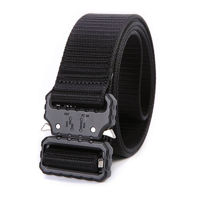 TACVASEN Nylon Tactical Belt Men Metal Buckle Quick Release Heavy Duty Webbing Belt Military Army Combat Waistband Airsoft Gears
