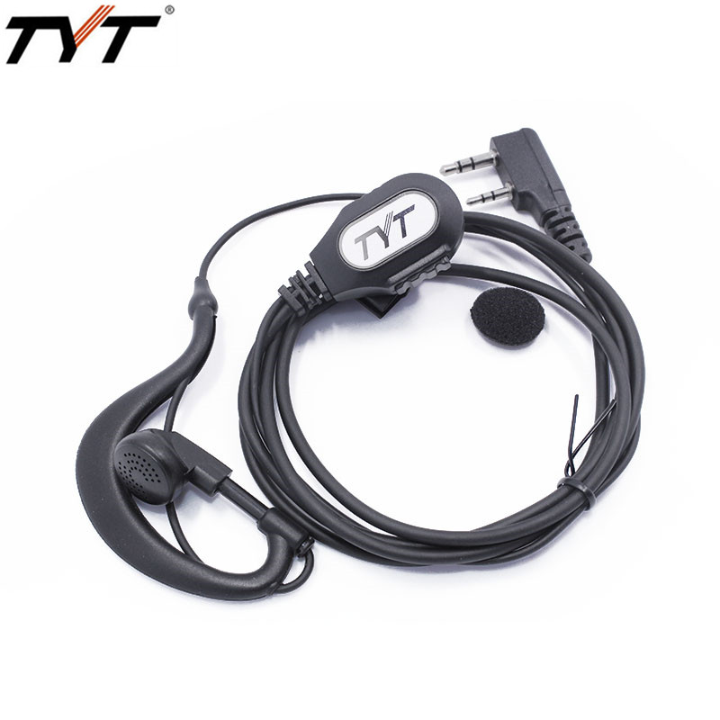 Original High Quality 2 Pin TYT G-shape Ear Hook Headset Earpiece for Walkie Talkie TYT MD-380 TH-UV8000D/E TH-F8 Two Way Radio
