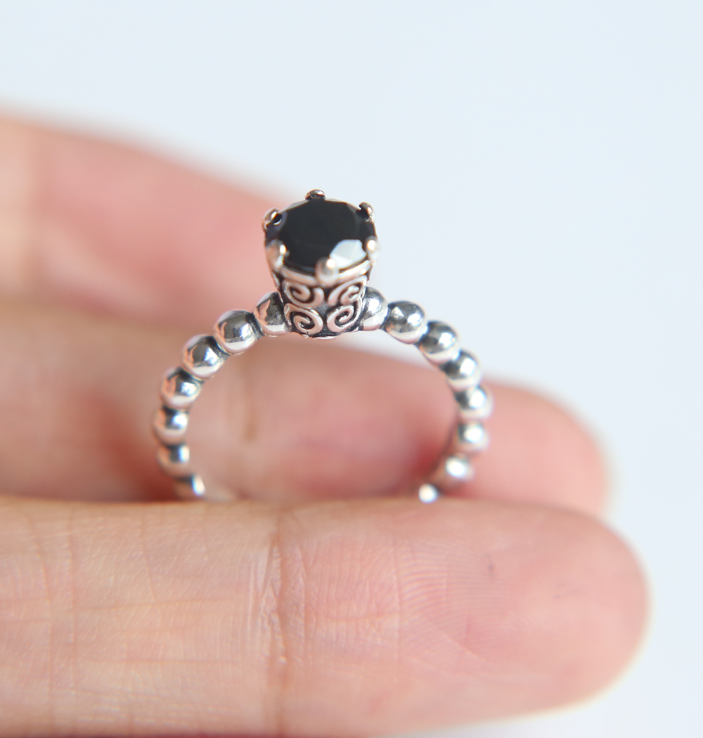 925 Sterling Silver european jewelry black solitaria oxidized women ...