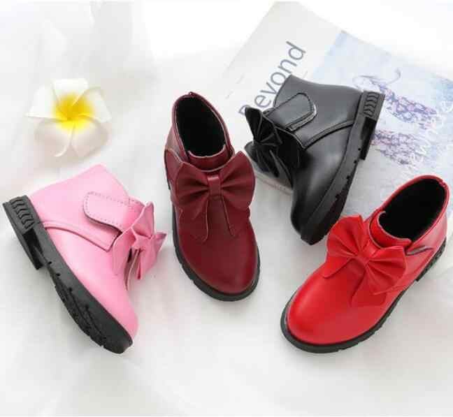 ... New Spring Autumn Kids Baby Girls Sneakers Shoes Fashion Toddler Girls  Boots Bow PU Leather Boots ... 718e7d155db5