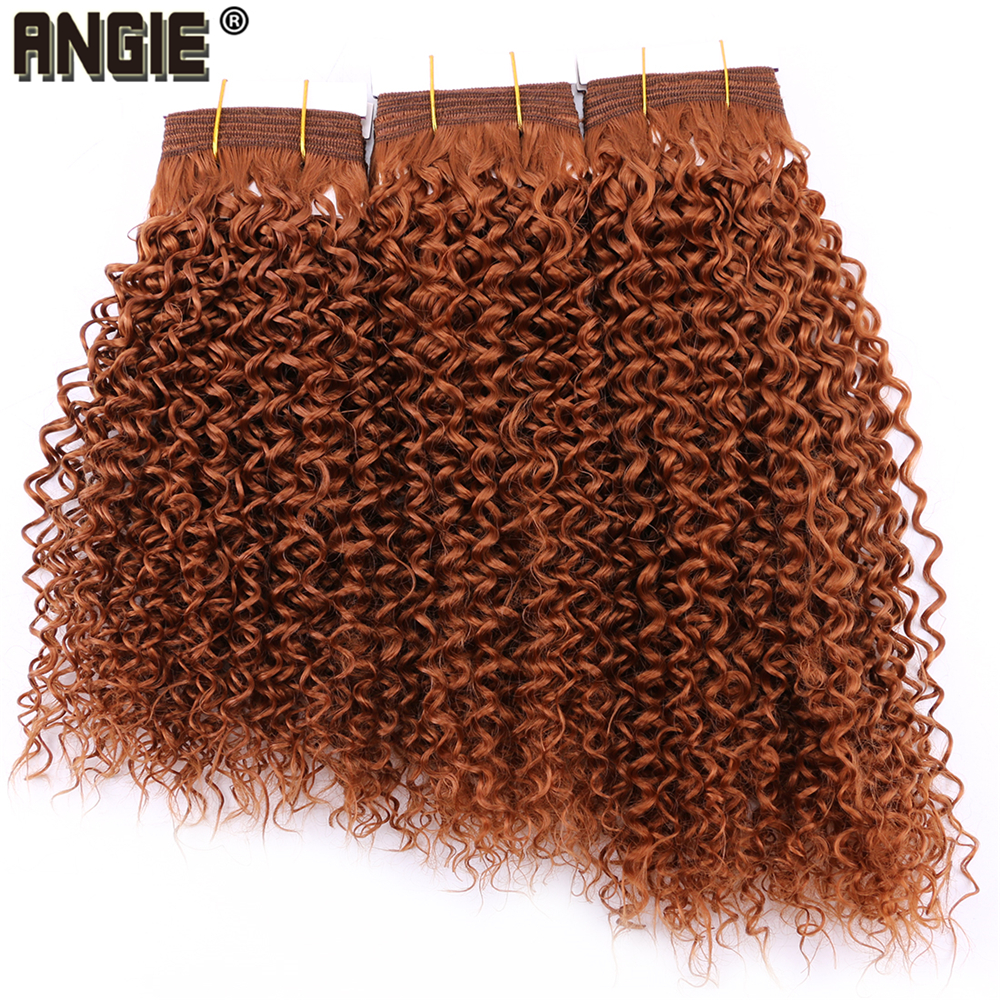 #30 Color Brown Kinky Curly Synthetic Hair Extensions Jerry Curly Hair Bundles 8-20 Inch 100 Gram One Piece Hair Weft