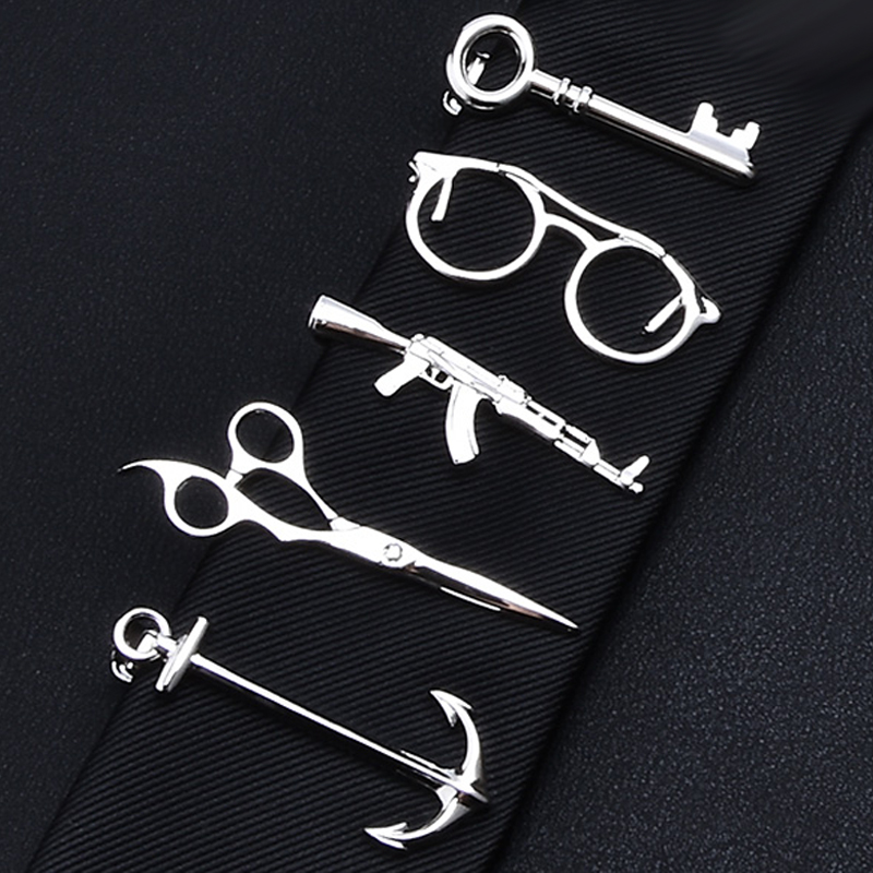 1 Piece Feather Glasses Anchor Mustache Key Shape Silver Metal Tie Clip for Men Tie Bar Crystal Necktie Clips Pin For Mens Gift fashion tiger shape 10cm width wacky tie for men