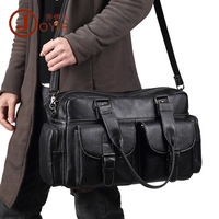 Vintage 100% Genuine Leather Men's Travel Bags Soft Natural First Layer Cow Leather Men Handbag Multi Pockets Travel Totes