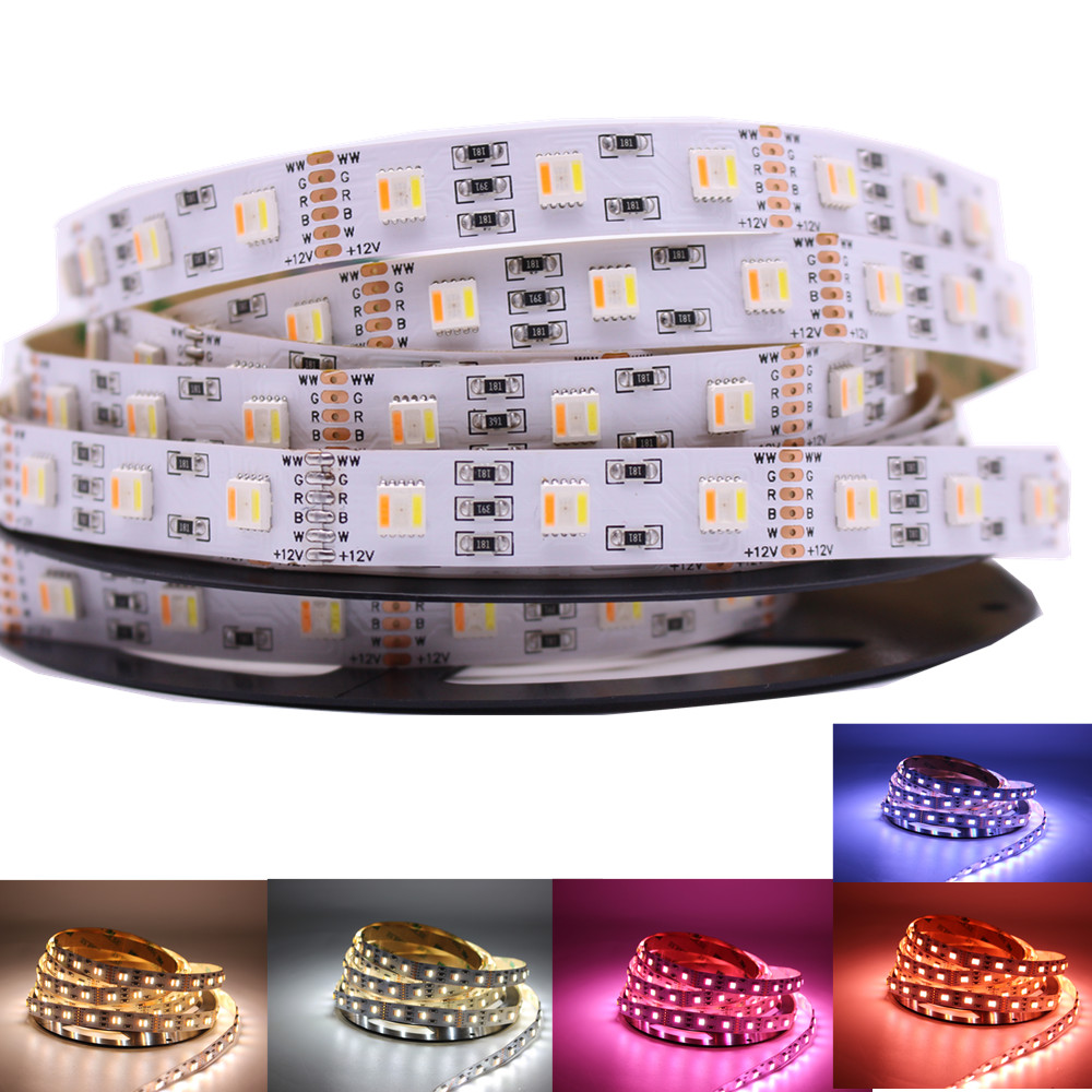 12MM PCB RGB CCT LED Strip 5050 DC12V/ 24V Flexible Light RGB+White+Warm White 5 Color In 1 LED Chip 60 LED/m 5m/lot Waterproof