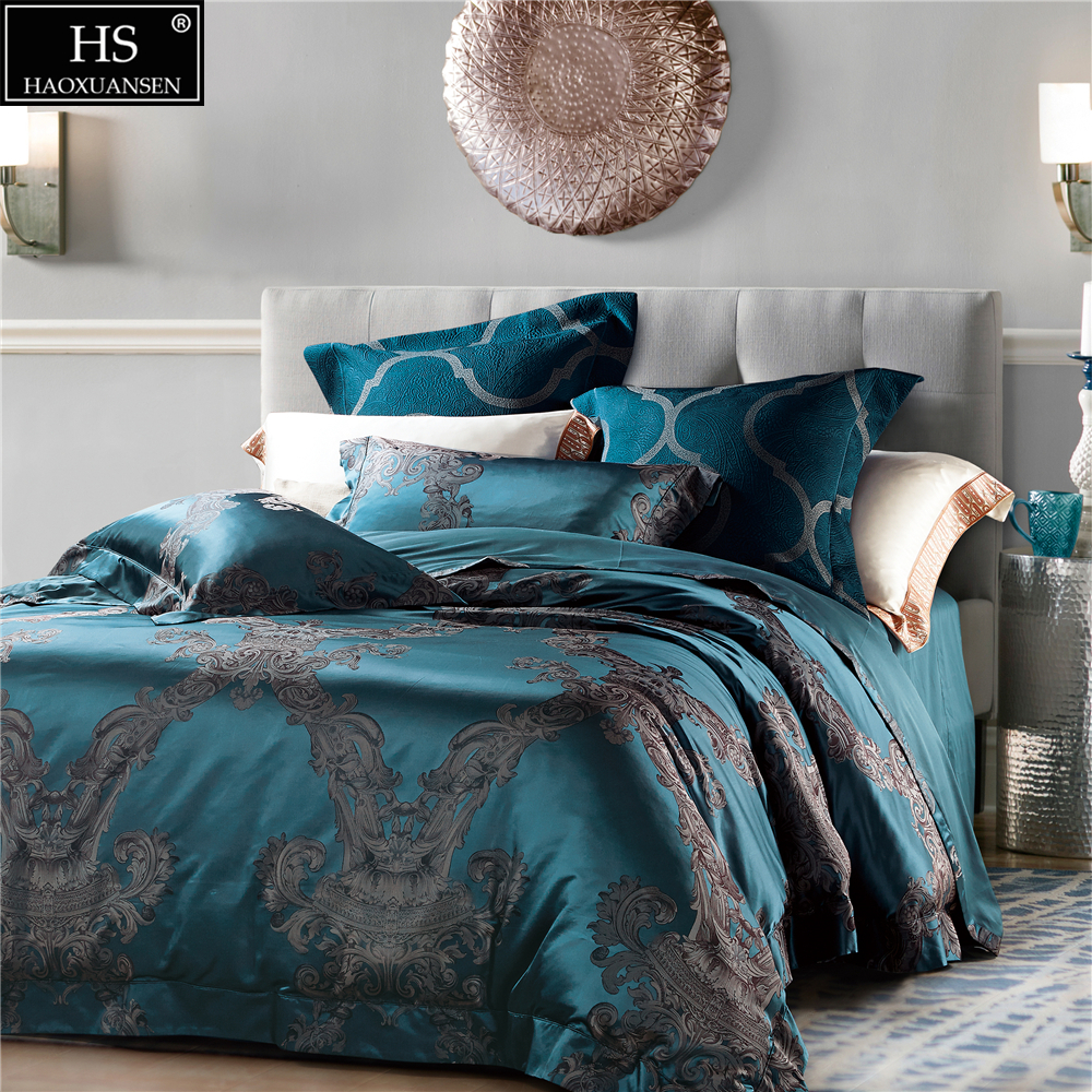 HS 28 Mommie Mulberry Silk 4pcs Bedding Sets High Counts High Density Yarn Dyed Silk Jacquard Duvet Cover Bedsheet Pillowcases