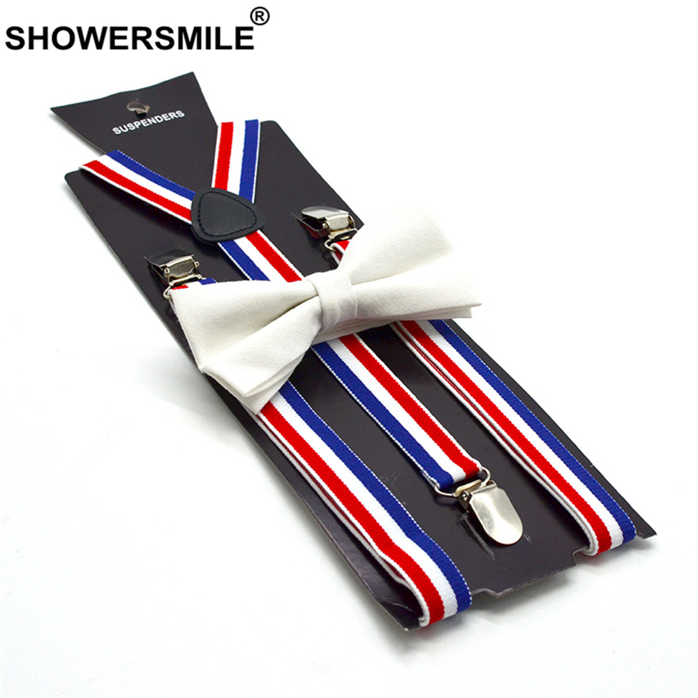 SHOWERSMILE British Style Women Suspenders Bow Tie Set Female Suspenders For Shirt Red Blue White Striped Women's Braces 100cm