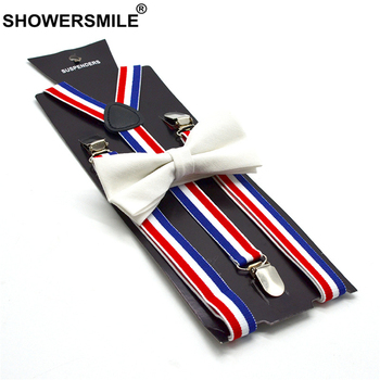 SHOWERSMILE British Style Women Suspenders Bow Tie Set Female Suspenders for Shirt Red Blue White Striped Women's Braces 100cm фото