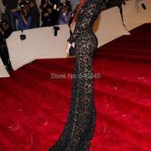 Сделанные на заказ черные вечерние кружевные платья на одно плечо с длинным рукавом сексуальное женское вечернее платье Рианна с разрезом сбоку платья знаменитостей R6