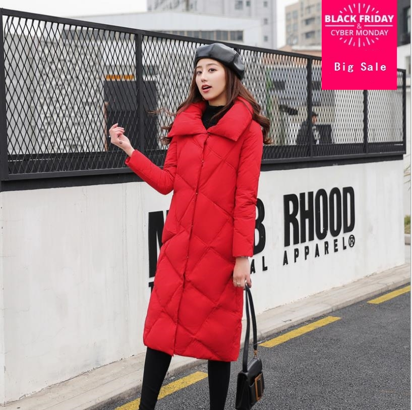 Winter fashion brand rhombus stitching real duck   down     coat   female single breasted longer duck   down   jacket warm outwear wq469