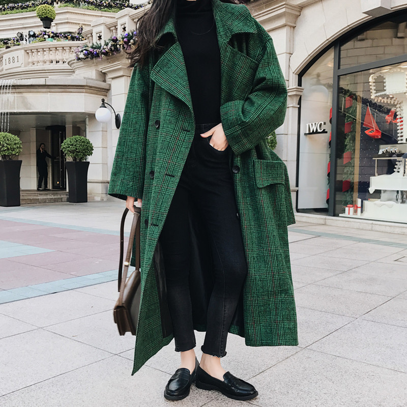 LANMREM 18 Fashion Autumn Double Breasted Notech Casual Loose Big Size Long Type Green Plaid Women Woolen Coat UA26406 7
