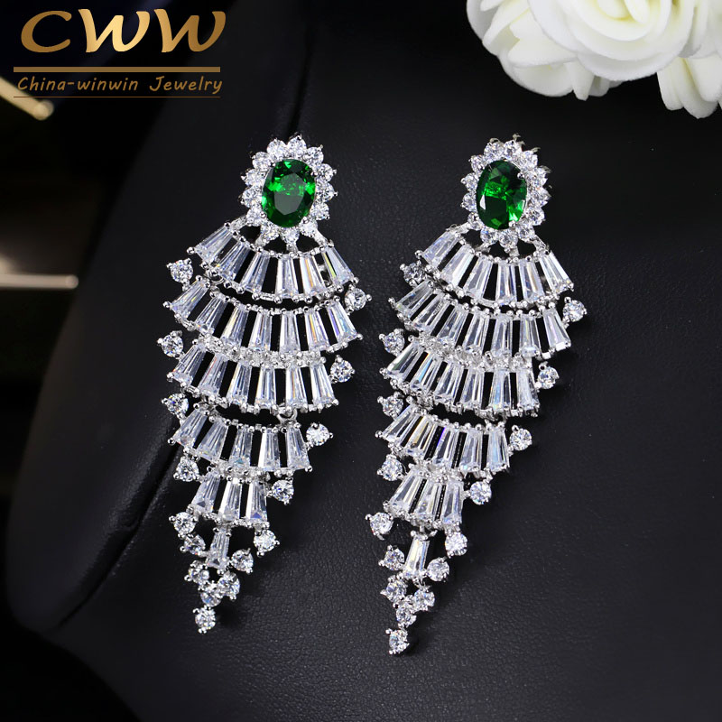 Furniture Big Discount Sale Cubic Zircon Drop Earring Jewelry Gold And White Color Round Design Luxury Crystal Women Statement Jewellery
