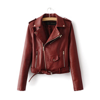 2016 Spring Autumn Women PU Leather Jackets Lady Slim Fit Motorcycle Zipper Coat Wine Red Blue