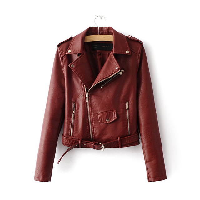 2016 spring Autumn Women PU Leather Jackets Lady Slim Fit Motorcycle Zipper Coat wine red blue pink costs lady fashion with belt