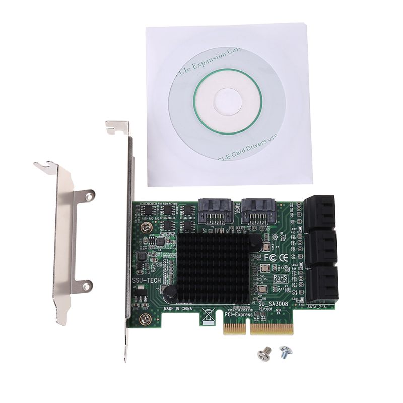 PCI e PCI Express to SATA 3.0 III 3 SSD PCIe 6 Ports Expansion Board Card Adapter Raiser Low Profile Bracket