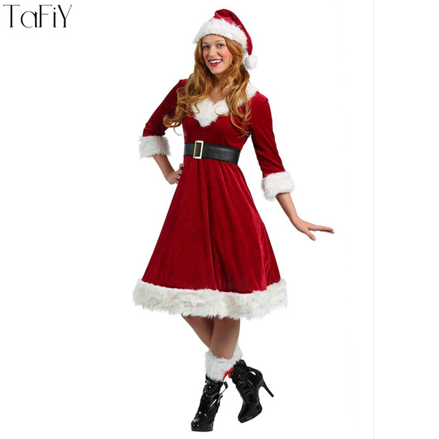 TaFiY 4pcs Set Xmas Costume Women Christmas Halloween Costume Girl Elf  Fancy Dress Christmas Cosplay Party Costume for Adult 8481a26c3