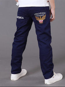 Kids Jeans Pants Trousers Boys Casual Letter for Elastic-Waist 4-16T
